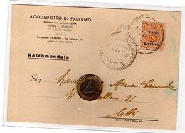 P1209 Storia Postale Allied Militar Postage Cartolina Raccomandata Affrancata AMGOT Cent. 15 X Palermo 1944 - Storia Postale