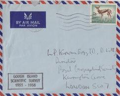Polaire Sud-africain, 210 (antilope) Obl. Flamme Cape Town Pour Londres Le 9 XII 55 + Gough Is. 1955-56 - Briefe U. Dokumente