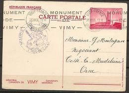 """France, Entier Postal """"Mémorial Canadien De Vimy"""" 90c. Rouge - Entiers Postaux"""