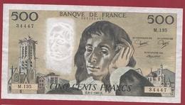 """500 Francs """"Pascal"""" Du 08/01/1981.H----TTB+--ALPH.M.135--1 TROU D EPINGLE - 500 F 1968-1993 ''Pascal''"""
