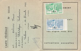 Fédération Sociétés Philatéliques Française Carte Fédérale ECF TOULOUSE 2 Timbres Vignettes Neufs Non Collés 1965 1966 - Autres