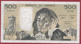 "500 Francs ""Pascal"" Du 06/01/1983.D----TTB+--ALPH.O.170 - 500 F 1968-1993 ''Pascal''"