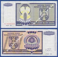CROATIA KNIN 1000000  Dinara 1993 - Croacia