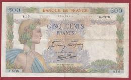 """500 Francs """"La Paix"""" Du 01/10/1942.HS----TTB--ALPH.K.6978--- Numéro .816 - 1871-1952 Circulated During XXth"""
