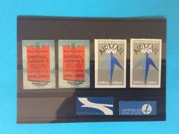 2 Vignettes Impérial Airways Continentale Empire Services Et 2 Vignettes Airmail Africa / India - Erinnophilie
