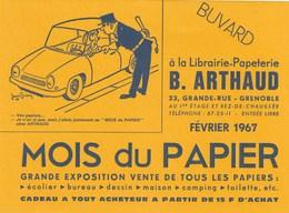 Grenoble: Buvard Librairie Papeterie ARTHAUD - Dessin De Jean BRIAN - Mois Du Papier En 1967 - Papeterie