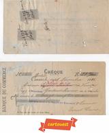 CHÈQUE  ♥️ ♥️☺♦♦ BANQUE DU COMMERCE 17 Septembre 1898☺Timbres Fiscaux 10c X 2 - Chèques & Chèques De Voyage