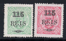 Angola Portugais 1902 Mi. 61, 63 Sans Gomme 60% 115 R, 80 R, 150 R. - Angola