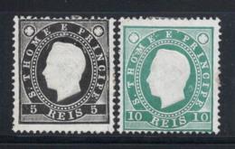 Sao Tomé Et Prince 1887-92 Mi. 15A-16A Sans Gomme 60% 5 R, 10 R, Roi Louis I - St. Thomas & Prince