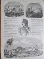 Gravure 1864 Tunisie Tunis   LA PORTE NEUVE    LA QUARTIER BLANC   Sidi Mustapha  Khasnadar  LE BARDO   Bey - Vieux Papiers