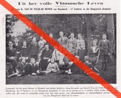 TIJDSCHRIFTKNIPSEL - FAMILIE VAN DE VELDE - DE MUNCK - HAASDONK - 1926  - GEZIN MET 17 KINDEREN + HONGAARS PLEEGKIND - Partecipazioni