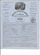 Police D 'assurances Cie D Assurances Contre L 'incendie Du 15 Juillet 1860 - France