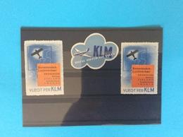 2 Belles Vignettes KLM , VLIEGT PER KLM Avec Une Au Centre Offerte Poste Aérienne - Otros