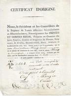 Certificat D'origine Locale Pour Des Tissus, émis Par La Principauté De Reuss, 26/2/1807 - Allemagne