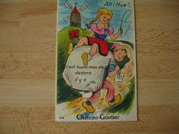 Carte A Systeme  Chateau Gontier Moulin A Vent Meunier Il Est Lours Mon Sac - Chateau Gontier