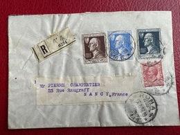 Italie Enveloppe Recommandée Pour La France Affranchissement Composé Oblitération Roma 1928 - Marcofilía