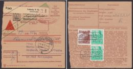 """Mi-Nr. 577, 815, """"Otzbach über Vacha"""", Paketkarte """"Versandhaus Leipzig"""", Zustellgebühr Per Landpost Rhön! - [6] Democratic Republic"""