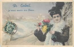 France - 91 - Fantaisie - De Corbeil Je Vous Envoie Ces Fleurs - Corbeil Essonnes