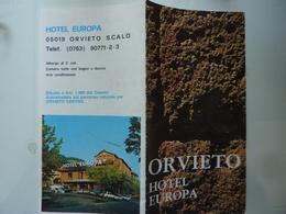 """Pieghevole Illustrato Pubblicitario """"ORVIETO HOTEL EUROPA"""" Anni '70 - Tourism Brochures"""