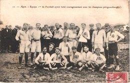 FR47 AGEN - 10 - équipe 1ère De Football Ayant Lutté Avec Les Champions Périgourdins - 1909 - Animée - Belle - Agen