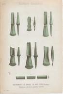 Planche De Haches De L'Age Du Bronze De Santenay (71), 1872 - Archéologie