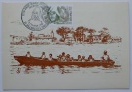 GUYANE - Fleuve La Mana Et Village Fondé Par Anne-Marie JAVOUHEY / Barque - Carte Philatélique Cachet 1er Jour JALLANGES - Guyane