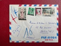 Algérie Enveloppe Affranchie Pour Paris Affranchissement Composé Oblitération 1962 - Algérie (1962-...)