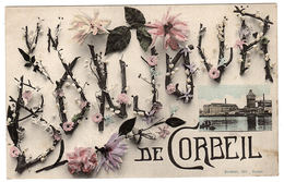 CORBEIL (91) - Carte Fantaisie - BONJOUR De Corbeil - Ed. Mardelet, Corbeil - Corbeil Essonnes