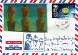 Statues Monumentales De L'île De Pâques (Les Moaï), Sur Lettre  Isla De Pascua Adressée Santiago Au Chili - Isola Di Pasqua