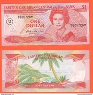 Anguilla Caraibi East Caribbean ONE DOLLAR 1985 Brithis Administration P17 U U In Circle UNC - Caraibi Orientale