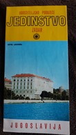 DEPLIANT TOURISTIQUE ZADAR YOUGOSLAVIE CROATIE HOTEL ZAGREB PHOTOS 4 VOLETS FORMAT 10.5 PAR 22 CM - Dépliants Turistici