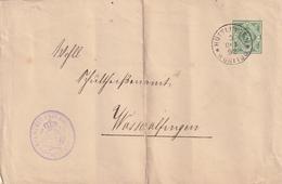 Wuerttemberg / 1892 / Dienst-Ganzsachenumschlag K1 HUETTLINGEN (BD61) - Wuerttemberg