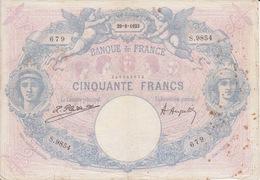 """Billet 50 CINQUANTE FRANCS """" BLEU ET ROSE """" Emission 29=8=1923 Très Abimé Et Tâché - 50 F 1889-1927 ''Bleu Et Rose''"""
