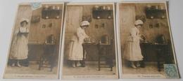 Série 9 Cartes Postales :: Femme - Cuisine - Chat - Crême - Animaux - Chats