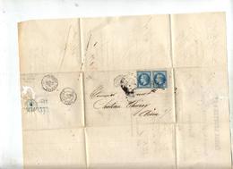 Lettre Cachet Losange Paris Sur Napoleon Paire + Chateauthierry Paris à Givet Facture Lecuyer - Poststempel (Briefe)