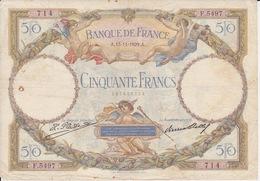 """Billet 50 CINQUANTE FRANCS """" LUC OLIVIER """" Emission 13-11-1929 Très Abimé Et Tâché - 50 F 1927-1934 ''Luc Olivier Merson''"""