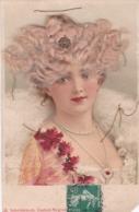 CPA  BUSTE DE FEMME - VRAIS CHEVEUX BLONDS- Barette Fleur En Ajoutis -  (lot Pat 111) - Femmes