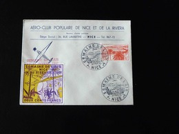 CACHET COMMEMORATIF  -  1947  -   SEMAINE DE L'AIR  -  NICE  AVEC VIGNETTE - Gedenkstempel