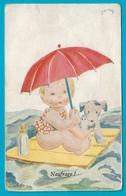 Carte Ancienne Illustrateur Janser Naufrage Bébé Avec Parapluie,chien,biberon Sur Radeau - Janser