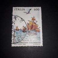 """PL105 REPUBBLICA ITALIANA 1992 GENOVA '92 CELEBRAZIONI COLOMBIANE PARTENZA DA PALOS LIRE 600 """"O"""" - 1991-00: Used"""