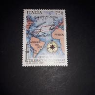"""PL106 REPUBBLICA ITALIANA 1992 GENOVA '92 CELEBRAZIONI COLOMBIANE CARTA 1' VAGGIO DI COLOMBO """"O"""" - 1991-00: Used"""