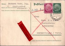 ! 1940 Ganzsache Von Stuttgart Als Eilbotensendung Nach Onstmettingen, Württemberg - Germania
