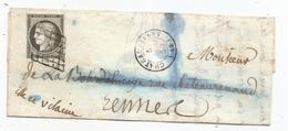 - LOIRE INFre - CHATEAUBRIAND Grille Noire S/TPND Ceres N°3a  Noir S/Blanc - Càd Type 15 - 1850 - 1849-1850 Cérès