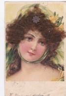 CPA 1905 Fantaisie Femme Vrais Cheveux Bruns Barette En Ajoutis Fleurs -(lot Pat 111 ) - Femmes