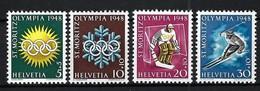 SUISSE 1948:  Les Y&T 309-312 ''Jeux Olympiques De St Moritz'' Neufs* - Inverno1928: St-Morits