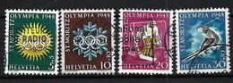 SUISSE 1948:  Les Y&T 309-312 ''Jeux Olympiques De St Moritz'' Obl. - Inverno1928: St-Morits