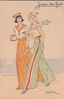 JUAN-LES-PINS. Elégantes En Pantalon Marchant Sur La Plage. Illustration: Marcel Block - Autres Illustrateurs