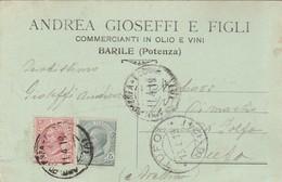 Barile. 1919. Annullo Guller Su Cartolina Postale PUBBLICITARIA ... COMMERCIANTI IN OLIO E VINI ... - Marcophilie