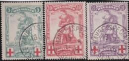 Belgie    .    OBP        .    126/128     .         O     .      Gebruikt   .    /    .   Oblitéré - 1914-1915 Red Cross