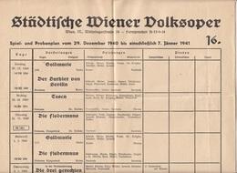 SPIEL Und PROBENPLAN PLAKAT Der Städtischen Wiener VOLKSOPER 1940 Bis 41, Größe Ac. 50 X 30 Cm, Gefaltet - Programma's
